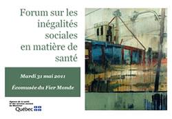 Affiche du Forum su les inégalités sociales en matière de santé